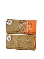 Butterflies Women Wallet Combos (Beige,Orange) (BNS C140) (Pack of 2)