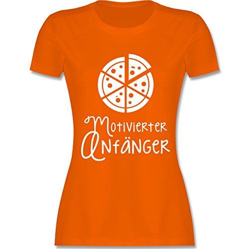 Küche - Motiverter Anfänger Pizza - tailliertes Premium T-Shirt mit Rundhalsausschnitt für Damen Orange