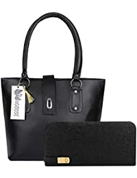 TWO GOOSE PU Leather Twin Handle Shoulder Tote Ladies Handbag Purse with Clutch Wallet Combo for Women & Girls for Casual, Outdoor, Party, Kitty, Travel, College, Office, Shopping & Gifting (Black)