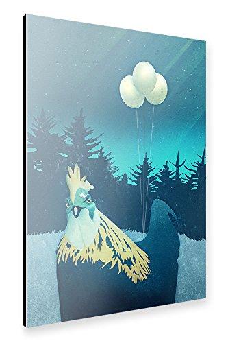 "artboxONE Alu-Print 90x60 cm Tiere Natur Comic ""What the Hegg?!"" blau hochwertiges Alu-Dibond Bild - Wandbild Tiere Natur Comic Kunstdruck von Romina Lutz"