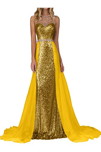 Missdressy Damen Paillette Lang Tuell Chiffon Tuell Schleppe Aermellos Herzform Abendkleid Partykleid Golden