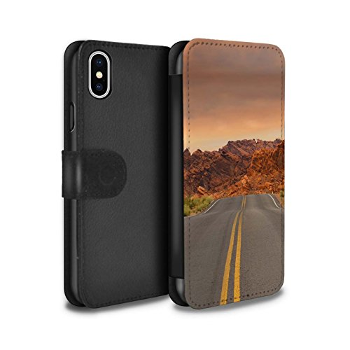 Stuff4 Coque/Etui/Housse Cuir PU Case/Cover pour Apple iPhone X/10 / Pack 6pcs Design / État du Nevada Collection Route/Autoroute