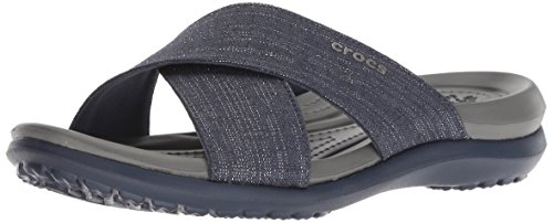 crocs - Capri Shimmer Damen-Band-Sandalen, 33.5, Navy/Slate Grey -