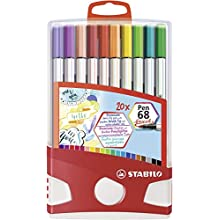 Premium Fibre-Tip Pen - STABILO Pen 68 Brush Colorparade of 20 Assorted Colours with Hanging Device