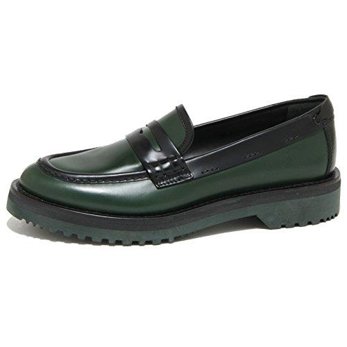 1819O mocassino CAR SHOE verde bosco/nero scarpe donna loafer women [37]