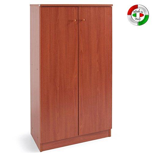 Armadio scarpiera legno nobilitato mobile 2 ante ciliegio 4 ripiani cm130x71x38