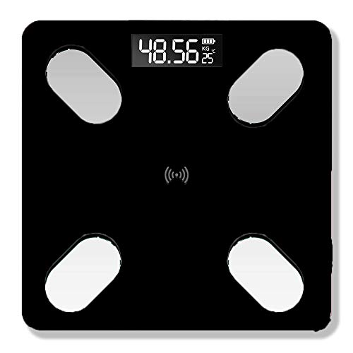 Docooler Intelligente WaageDigitale Waage USB-wiederaufladbare elektronische Waage BT Körperfett Elektronische Waage Messgewicht mit 59 Artikeldaten BT-Verbindung Voice Broadcast
