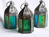 Marokkanische Tonale Glas Teelicht-Laternen, 3er-Set, Blau/Grün