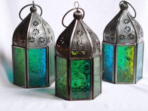 Marokkanische Laternen Set (Marokkanische Tonale Glas Teelicht-Laternen, 3er-Set, Blau/Grün)