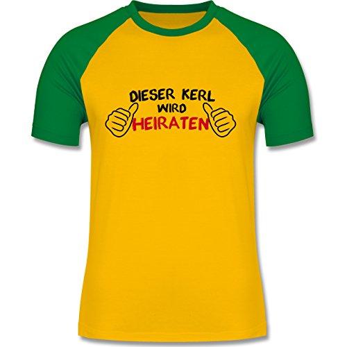 JGA Junggesellenabschied - Dieser Kerl wird heiraten - zweifarbiges Baseballshirt für Männer Gelb/Grün