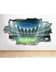A135Estadio de fútbol Niños Dormitorio Adhesivo decorativo para pared Póster Arte 3d pegatinas vinilo habitación (Tamaño Mediano) (52x 30cm)