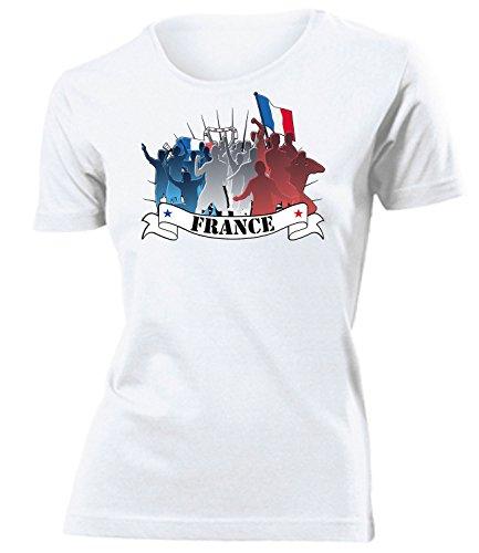 Frankreich France 6043 Fussball Fanshirt Fan Shirt Tshirt Fanartikel Artikel Frauen Damen T-Shirts Weiss S