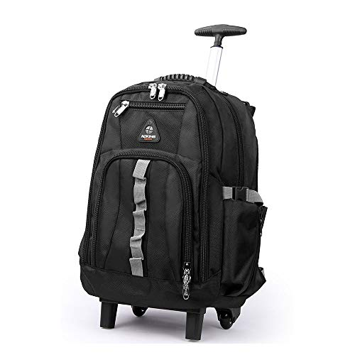 Aufrechte Gepäck (QARYYQ Reisetasche Trolley Gepäck Reisetasche Computertasche Aufrechte Trolley Jugend Schulrucksack Business Large Capacity Bag Trolley Rucksack (Color : Black, Size : 58x24x37cm))