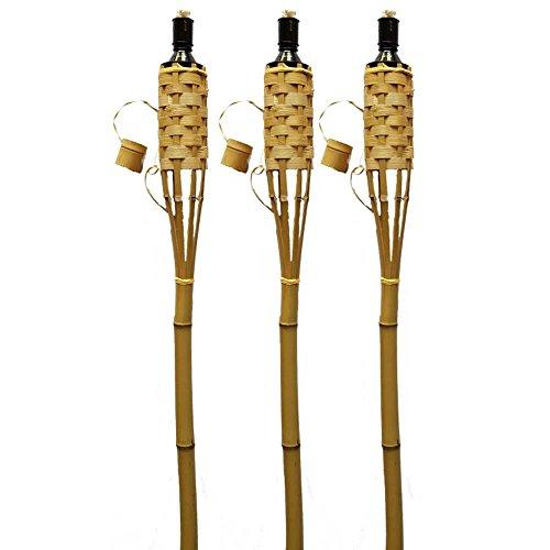 K & F Lot de 24torches 150cm Couleur Marron, à huile, flambeaux en bambou avec torche flamme extincteur–L'Eau de Pluie Protection et Tempête Protection Fermeture–Mèche. en-norm
