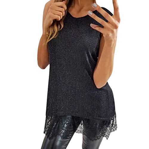 Goldatila Tops für Damen Sexy Spitze Ärmellose Bluse Lässige T Sommer Camisole Weste Strap Shirt Stil Ernte Sparkle Tank Tops UK 10-16 -