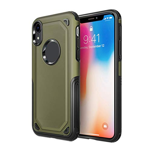 happy event Schützende hybride robuste harte schützende Haut-Kasten-Abdeckung für iPhone XR 6.1inch   Protective Hybrid Rugged Hard Protective Skin Case Cover For iPhone XR 6.1inch (Militärgrün)
