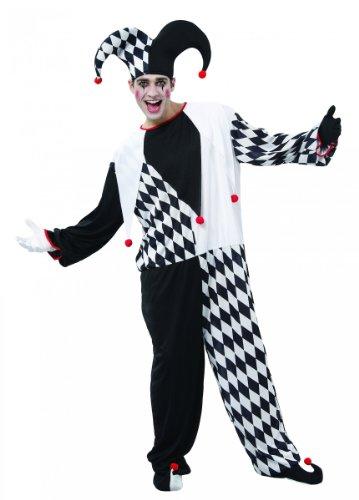 (KULTFAKTOR GmbH Edler Harlekin Kostüm Zirkus schwarz-Weiss-rot Einheitsgröße (42))