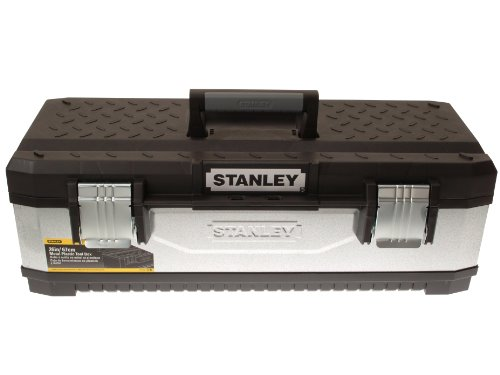 """Stanley Werkzeugkoffer / Werkzeugbox (26\"""", 49.7x29.3x22.2cm, aus Metall-Kunststoff, galvanisiert, mit Vorhängeschloss, Metallschließen, Koffer mit Bi-Material Griff) 1-95-620"""