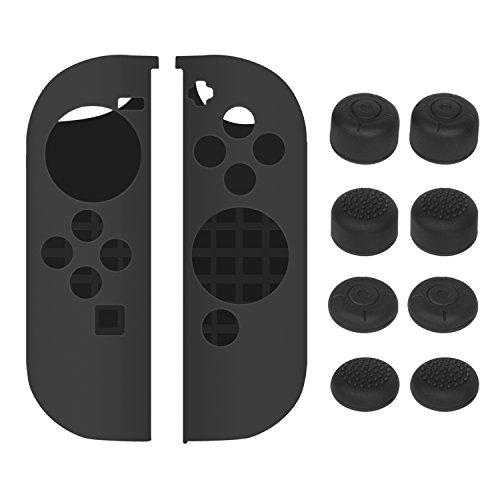 Nintendo Switch Joy-Con Hülle - Younik Rutschfeste Silikon Hülle & Joystick Kappen für Nintendo Switch Joy-Con Kontrolleur (Schwarz)