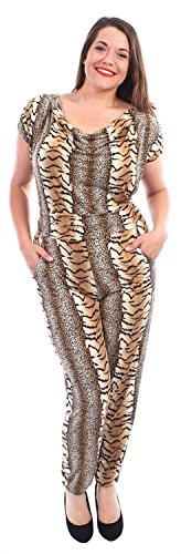 Chocolate Pickle ® Neue Damen Kappe Sleeve Cowl Neck Leopard Print Hareem Jumpsuits Kleid (Sleeve Leopard-print-kleid)