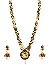 Zaveri Pearls Antique Gold Tone Goddess Temple Necklace Set For Women-ZPFK6764