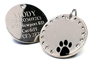 30mm Round Crystal and Black Paw Dog Pet ID Tag Disc Engraved by County Engraving
