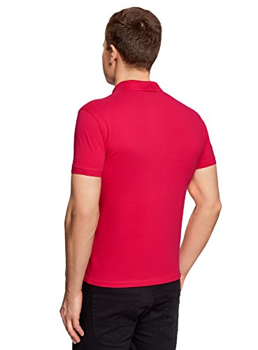 oodji Ultra Herren Pique-Poloshirt Basic Rosa (4700N)