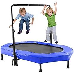 Campaig Sports Trampoline pour enfant, intérieur et extérieur, avec poignée, bleu