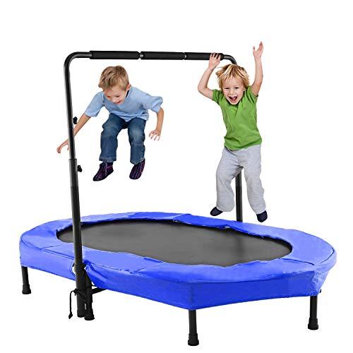 ANCHEER Kindertrampolin, Garten Trampolin für Zwei Kinder Indoor/Outdoor zusammenklappbar mit verstellbarem Handlauf Eltern-Kind-Trampolin Fitness Maximale Gewicht Beträgt 100KG. (Blau)