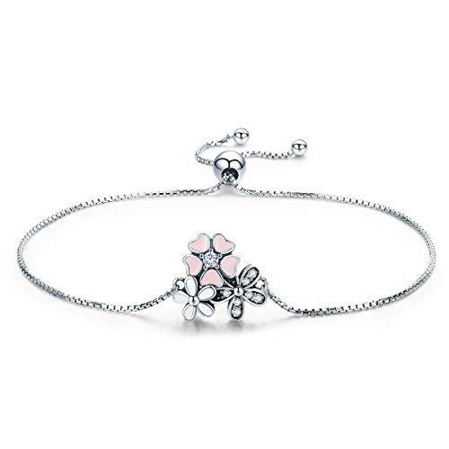 TIZIKJ Women Girl es Daisy Cherry Blossom Chain Armband, 925 Sterling Silber Schmuck, EIN wichtiges Geschenk für sie