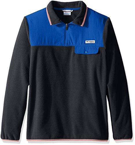 Columbia Sportswear Herren Harborside Overlay Fleece Pullover, Herren, Shark/Vivid Blue, X-Large Columbia Sportswear-fleece-pullover