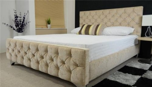 florence upholstered chenille fabric bed frame diamante all sizes and colours uk cream double