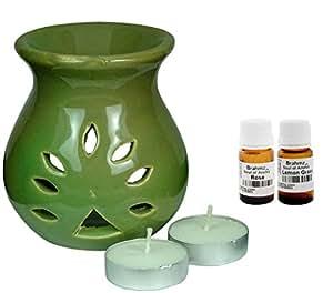 Brahmz Aroma Oil Diffuser - Ceramic - Regular - Green - Rose / Lemon Grass