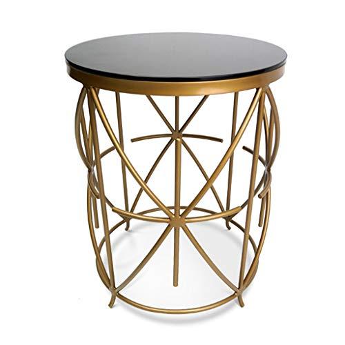 Tables de dos de canapé Petite table de lit en acier inoxydable table d'appoint en métal table d'angle en verre trempé moderne table basse canapé côté table ronde ( Color : Gold , Size : 48*48*63cm )