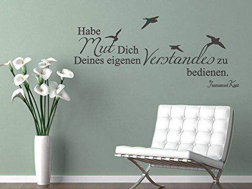 Wandtattoo Habe Mut dich deines eigenen Verstandes zu bedienen Nr 1 Wanddekoration Wohnzimmer Wanduafkleber Farbe Dunkelgrau, Größe 100x43 (Mut Wandtattoo)