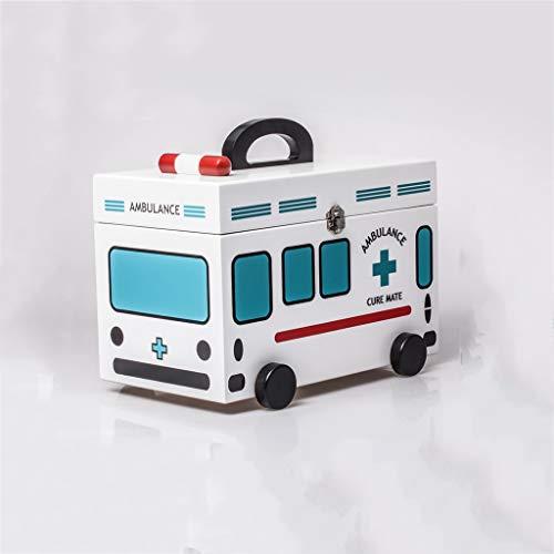 LYLQQQ Medizinischer Aufbewahrungsbehälter für Hausapotheke tragbare Erste-Hilfe-Box aus Holz, Zwei Schichten medizinischer Kasten Medizinkasten (Color : Blue)
