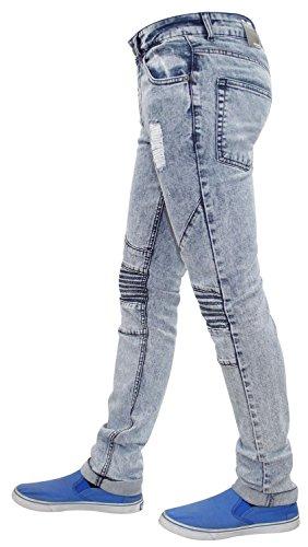 Neue Männer 7 Serie Biker Stil Skinny Slim Fit Stretch Cotton Denimjeans gerippt Landon-Blue Acid