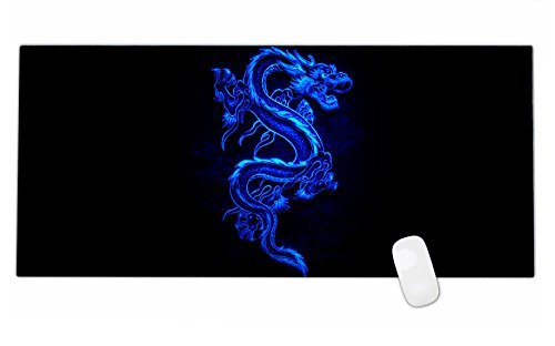 iKammo Galaxy High Grade Non-slip Rubber Base Sticthed Edge Gaming Mouse Pad - Designed to fit Computer Desk Stationery Accessories 35 x15.55 x0.07 Blue Dragon