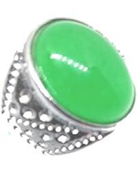 Plata Vintage Oval Natural verde Jade jadeíta Gem anillo banda