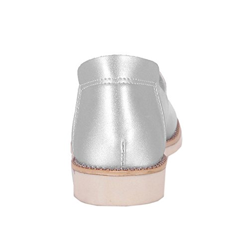 TAOFFEN Damen Casual Flache Schlupfschuhe Comfortable Mode Pumps Silber