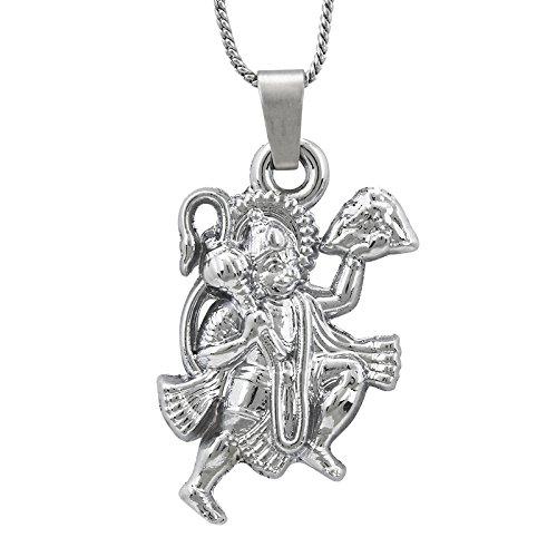 Shining Jewel Hanuman Silver Unisex Pendant (SJ_2221)