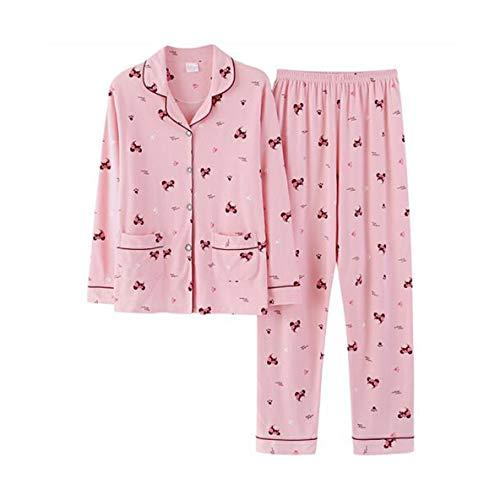 TENGTENGCAI Das Elegante Frauen Frühling Und Herbst Baumwolle Schlafanzug Anzüge Long Sleeve Lady Pink Schlafen Bekleidung Für L