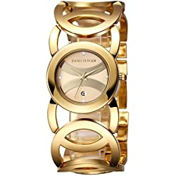 jiangyuyan 3808 Fashionable and Elegant Rhinestone Scale Quarz Wrist Uhr mit hollowed-out Alloy Band and Jewelry Armband CLASP für Frauen (Gold Case + Gold Window)