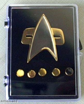 VOYAGER Star Trek Communicator Abzeichen + Rank pin Set 6 teilig ()