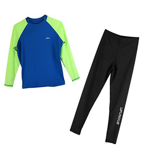 D DOLITY Herren UV-Schutz T-Shirt Rash Guard Swimshirt Langarm Shirt mit Schwimm Leggings Hose Schwimmhose Lange Unterhose - Grün blau, S -