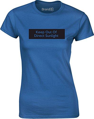 Brand88 - Keep Out of Direct Sunlight, Mesdames T-shirt imprimé Bleu/Noir