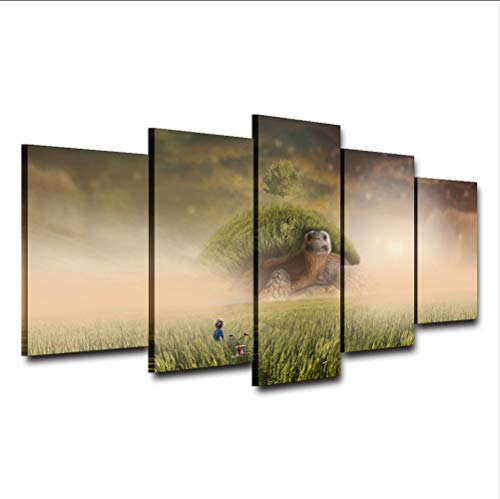 Wiwhy canvas painting home wall art hd stampe grass tree poster 5 pezzi fantasy turtle un'isola su di esso È tornato immagini complete home decor-30x40/60/80cm,without frame