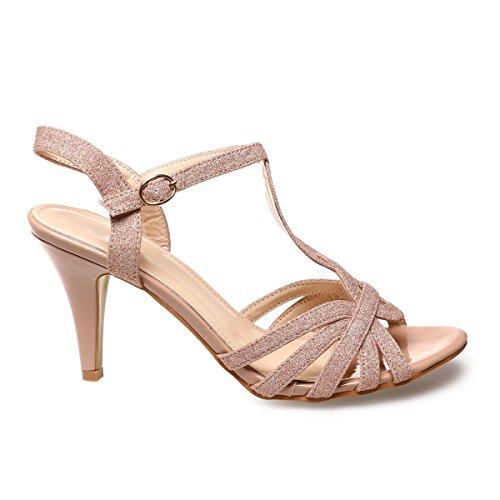 La Modeuse - Sandales à talons avec brides en T croisées Doré rose