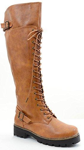 Fourever Funky mujer piel vegana poste de cordones Suela botas de caña alta, color Marrón, talla 37 EU (M)