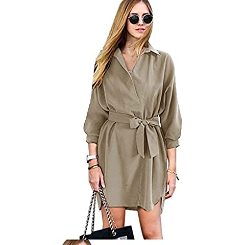XJoel femminile increspato manica lunga con scollo a V raccolga la vita Dress Khaki L